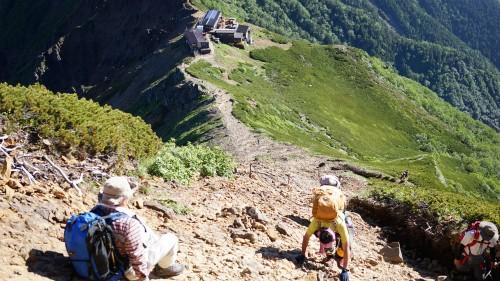 赤岳から赤岳展望荘までの稜線
