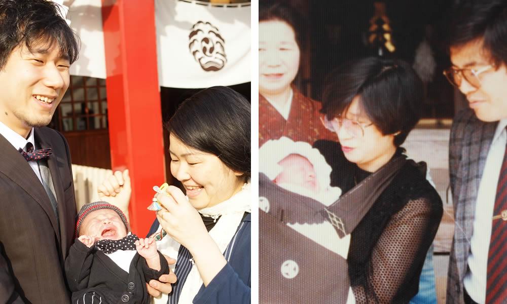 横浜・鶴見の潮田神社で生後1か月お宮参りに行ってきた