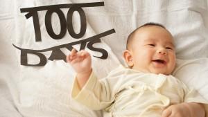 赤ちゃん100日記念写真