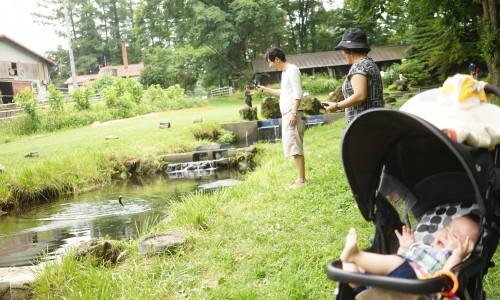 人間牧場で家族で釣り
