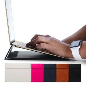 スタンド機能付きシンプルMacBook12インチ革・レザーカバー